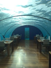 5 Meter unter dem Meeresspiegel kann man im Ithaa speisen
