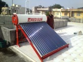 Solar water heater with capacity 200 ltr per day with side look of stand.