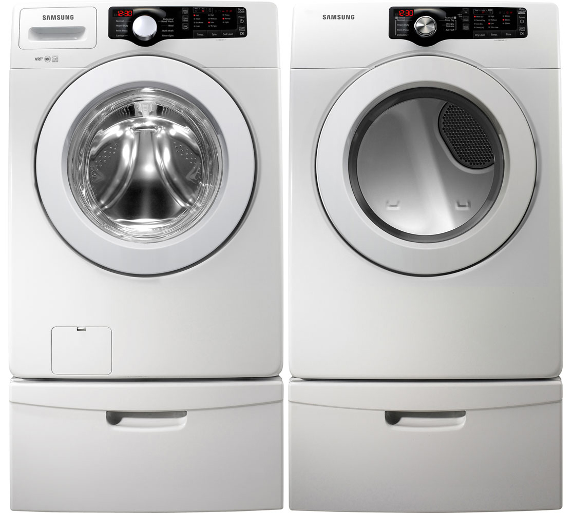 New Samsung White Washer And Gas Dryer Front Load Laundry