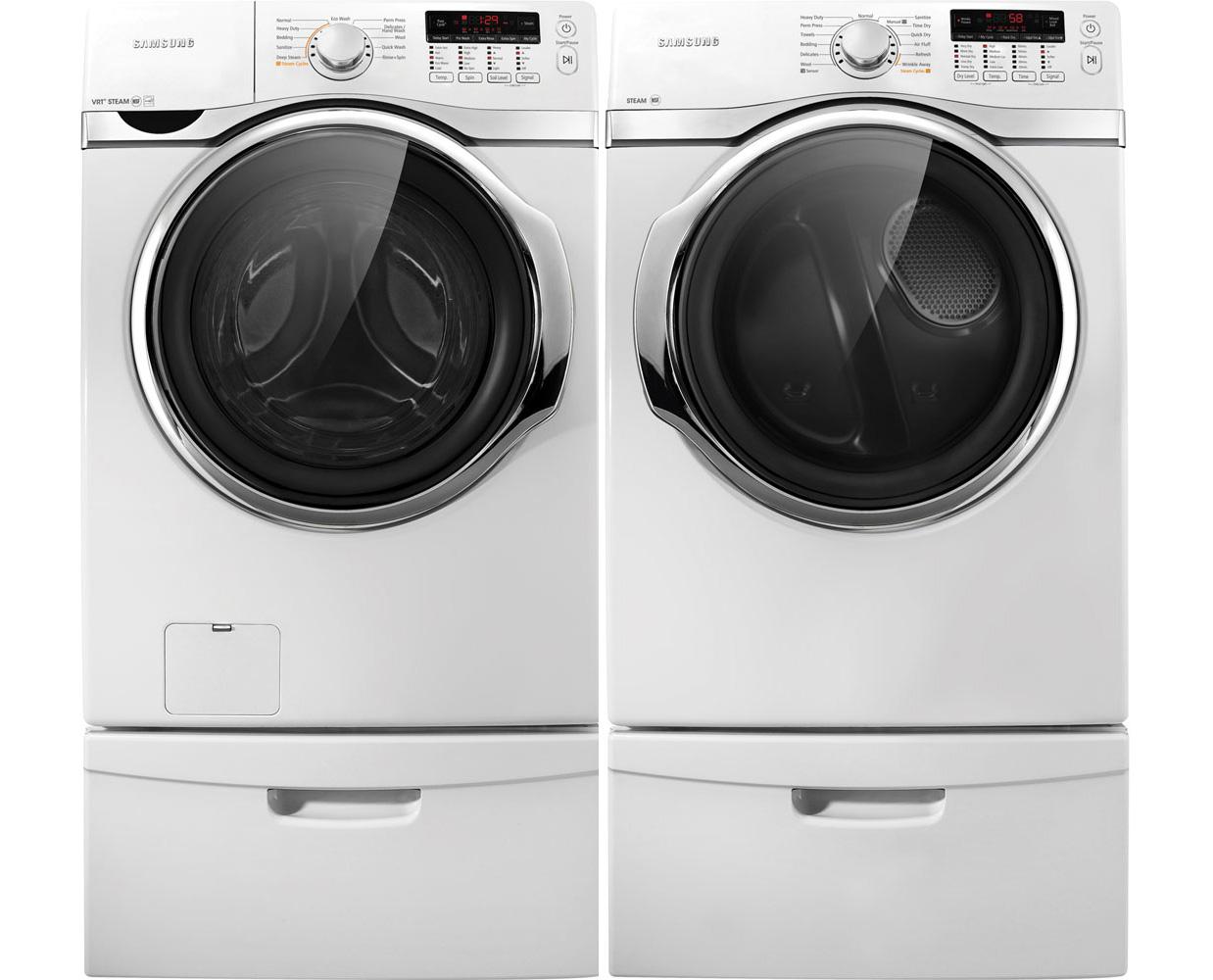 Samsung White Steam Washer Amp Steam Gas Dryer Laundry Pair
