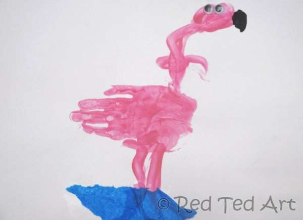 Handprint Alphabet F is for Flamingo Red Ted Art39s Blog