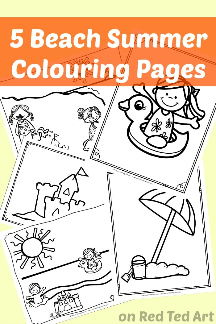 5 Free Beach Coloring Pages For Preschool Red Ted Art