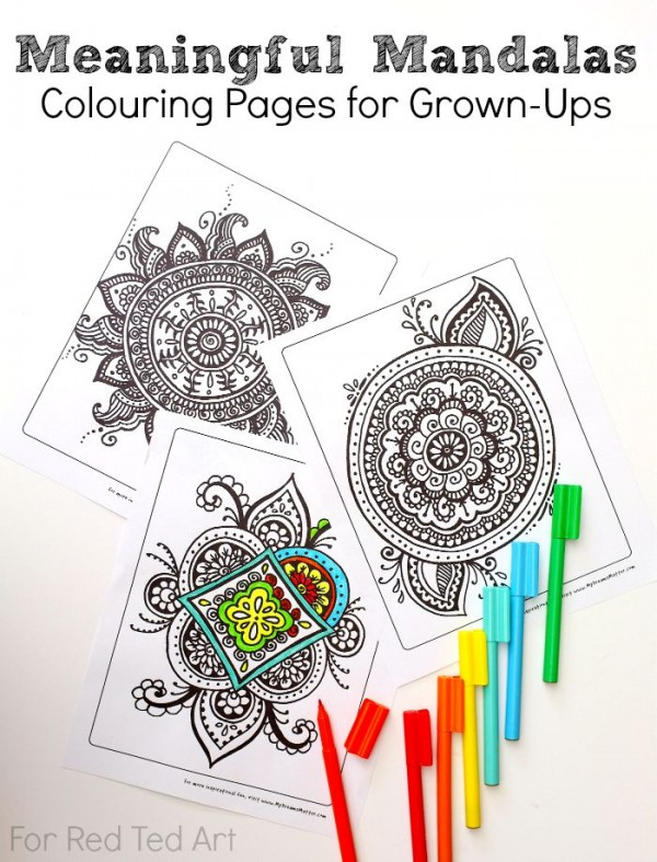 Colouring Pages for Grown Ups Meaningful Mandalas Red