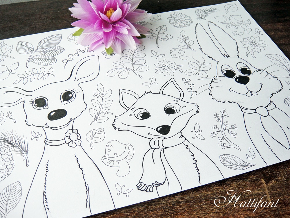 Woodland Animals Coloring Pages For Grown Ups Amp Kids Red