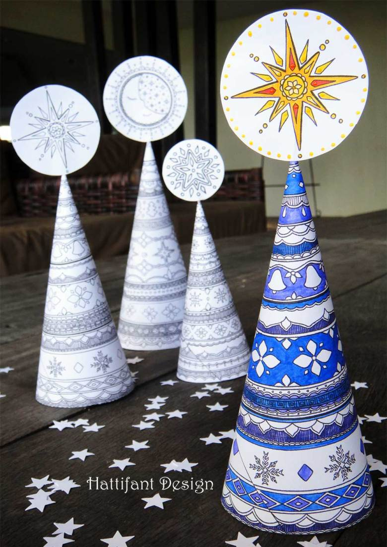 3d christmas tree colouring page for grown ups - red ted art's blog