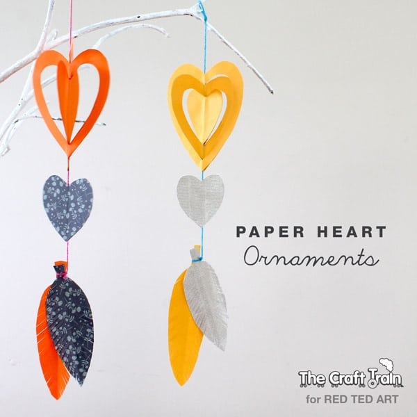 Easy Paper Crafts Heart Mobiles For Valentines Red Ted
