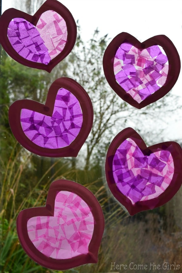 Paper Plate Hearts Stained Glass Windows Red Ted Arts