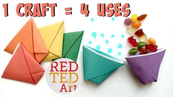 Origami Paper Cup Ball Game Red Ted Art Make Crafting With Kids Easy Fun