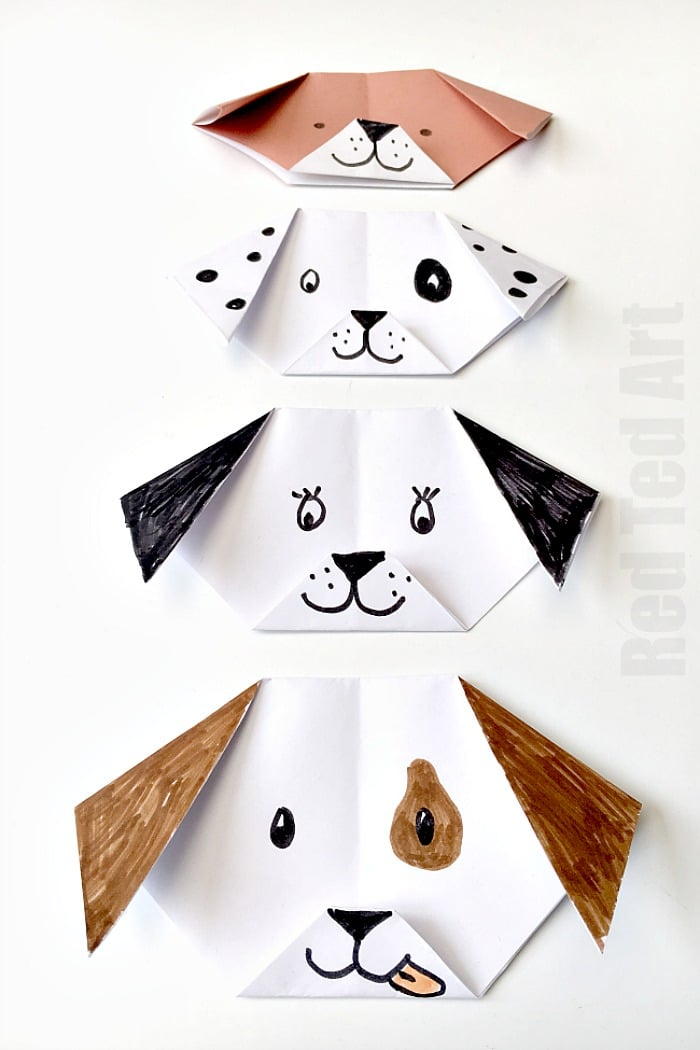 Easy Origami Dog for kids - adorable. Turn it your favourite breed. You can even make an emoji puppy origami! We love dog crafts, so very cute! #origami #dog #dogcrafts #origamidog #yearofthedog