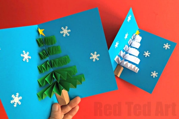 Pop Up Christmas Card Red Ted Arts Blog