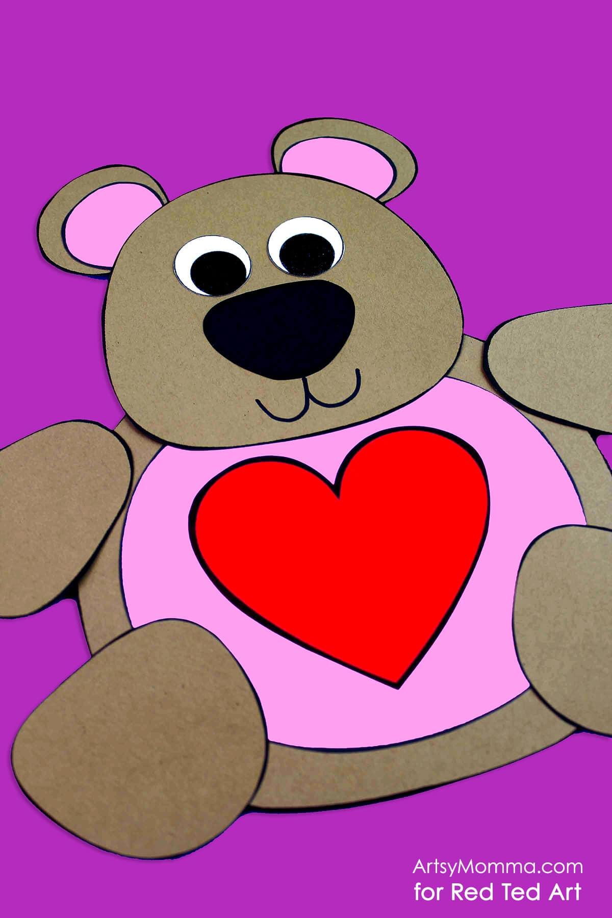 Cute Valentine S Teddy Bear Craft Printable