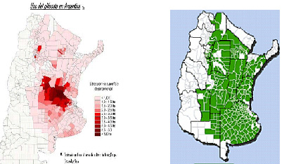 Mapas nº 2 y nº 3: Glifosato y Soja: Dispersión geográfica estimada 2010. MSAL y SAGPyA