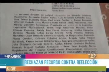 RECHAZAN RECURSO DE REELECCIÓN