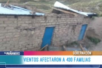 VIENTOS AFECTARON A 430 FAMILIAS CHUQUISAQUEÑAS