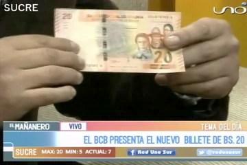TEMA DEL DÍA: NUEVO BILLETE DEL CORTE DE 20 BOLIVIANOS
