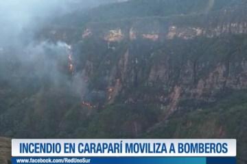 INCENDIO EN CARAPARÍ MOVILIZA A BOMBEROS