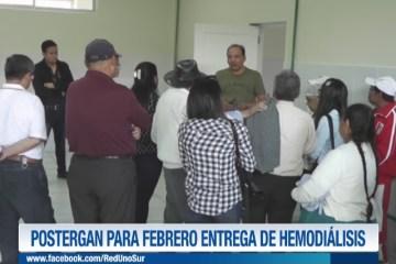 POSTERGAN PARA FEBRERO ENTREGA DE LA UNIDAD DE HEMODIÁLISIS