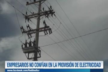 EMPRESARIOS NO CONFÍAN EN LA PROVISIÓN DE ELECTRICIDAD