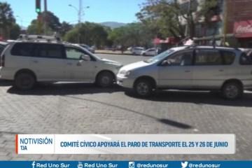 COMITÉ CÍVICO APOYARÁ EL PARO DE TRANSPORTE EL 25 Y 26 DE JUNIO