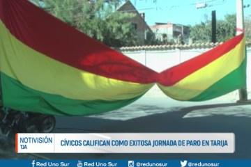 CÍVICOS CALIFICAN DE EXITOSA LA JORNADA DE PARO EN TARIJA