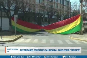 """AUTORIDADES POLICIALES CALIFICAN AL PARO COMO """"PACÍFICO"""""""