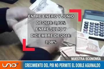 EL CRECIMIENTO DEL PIB NO ES SUFICIENTE PARA EL PAGO DEL SEGUNDO AGUINALDO