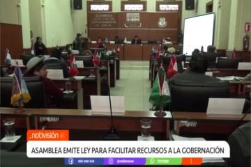 ASAMBLEA EMITE LEY PARA FACILITAR RECURSOS A LA GOBERNACIÓN