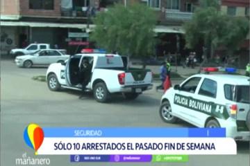 SÓLO 10 ARRESTADOS EL PASADO FIN DE SEMANA EN EL DEPARTAMENTO