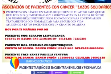 PACIENTES TARIJEÑOS CON CÁNCER SE ENCUENTRAN EN SUCRE Y PIDEN AYUDA