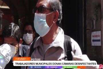 TRABAJADORES MUNICIPALES DONAN CÁMARAS DESINFECTANTES