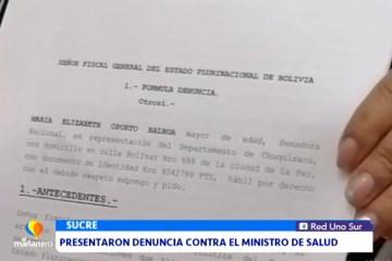 PRESENTARON DENUNCIA CONTRA EL MINISTRO DE SALUD