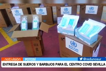 ENTREGA DE SUEROS Y BARBIJOS PARA EL CENTRO COVID SEVILLA
