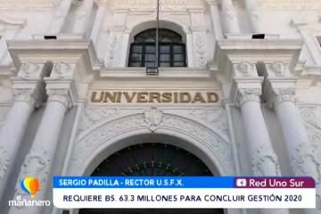 USFX REQUIERE BS. 63.3 MILLONES PARA CONCLUIR LA GESTIÓN 2020