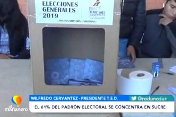 EL 61% DEL PADRÓN ELECTORAL SE CONCENTRA EN SUCRE