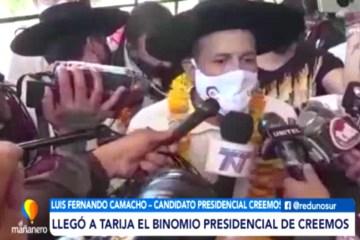 LLEGÓ A TARIJA EL BINOMIO PRESIDENCIAL DE CREEMOS
