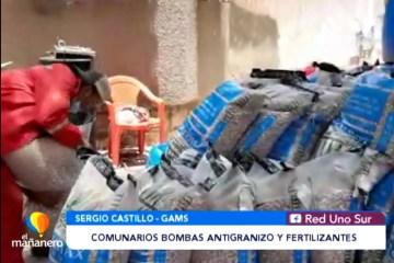 ENTREGAN BOMBAS ANTIGRANIZO Y FERTILIZANTES A COMUNARIOS DE DISTRITOS
