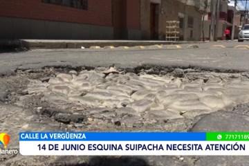 CALLE 14 DE JUNIO ESQ. SUIPACHA NECESITA ATENCIÓN