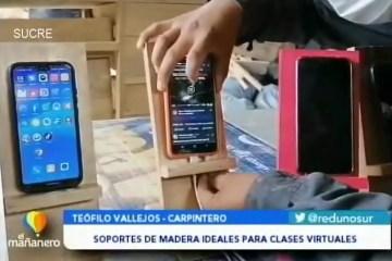 POSINOTICIA: FABRICAN SOPORTES DE MADERA PARA CELULARES UTILIZADOS EN CLASES VIRTUALES