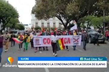 MARCHARON EXIGIENDO LA CONDONACIÓN DE LA DEUDA DE ELAPAS