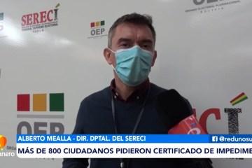 MÁS DE 800 CIUDADANOS PIDIERON CERTIFICADO DE IMPEDIMENTO DE SUFRAGIO