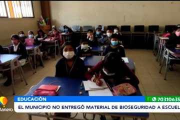 EL MUNICIPIO NO ENTREGO MATERIAL DE BIOSEGURIDAD A ESCUELAS