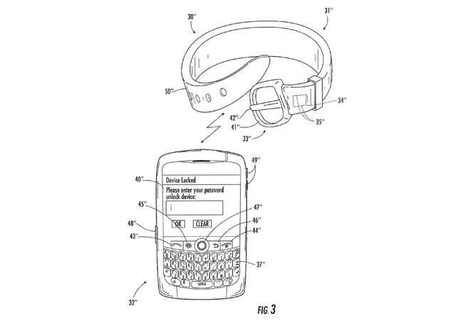 BlackBerry patenta un wearable útil para desbloquear el