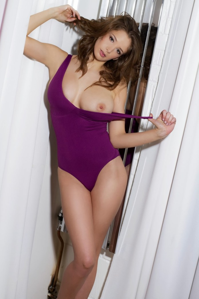 Emily Shaw Topless Purple Swimsuit Photoshoot By Frank White www.GutterUncensored.com 001