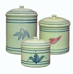 Kitchen Pottery Canisters Gadget Gifts 3 Piece Crock Canister Set Red Wing Stoneware