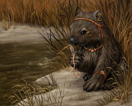 Original painting: 'Aboriginal Wombat' by Red Wombat Studios