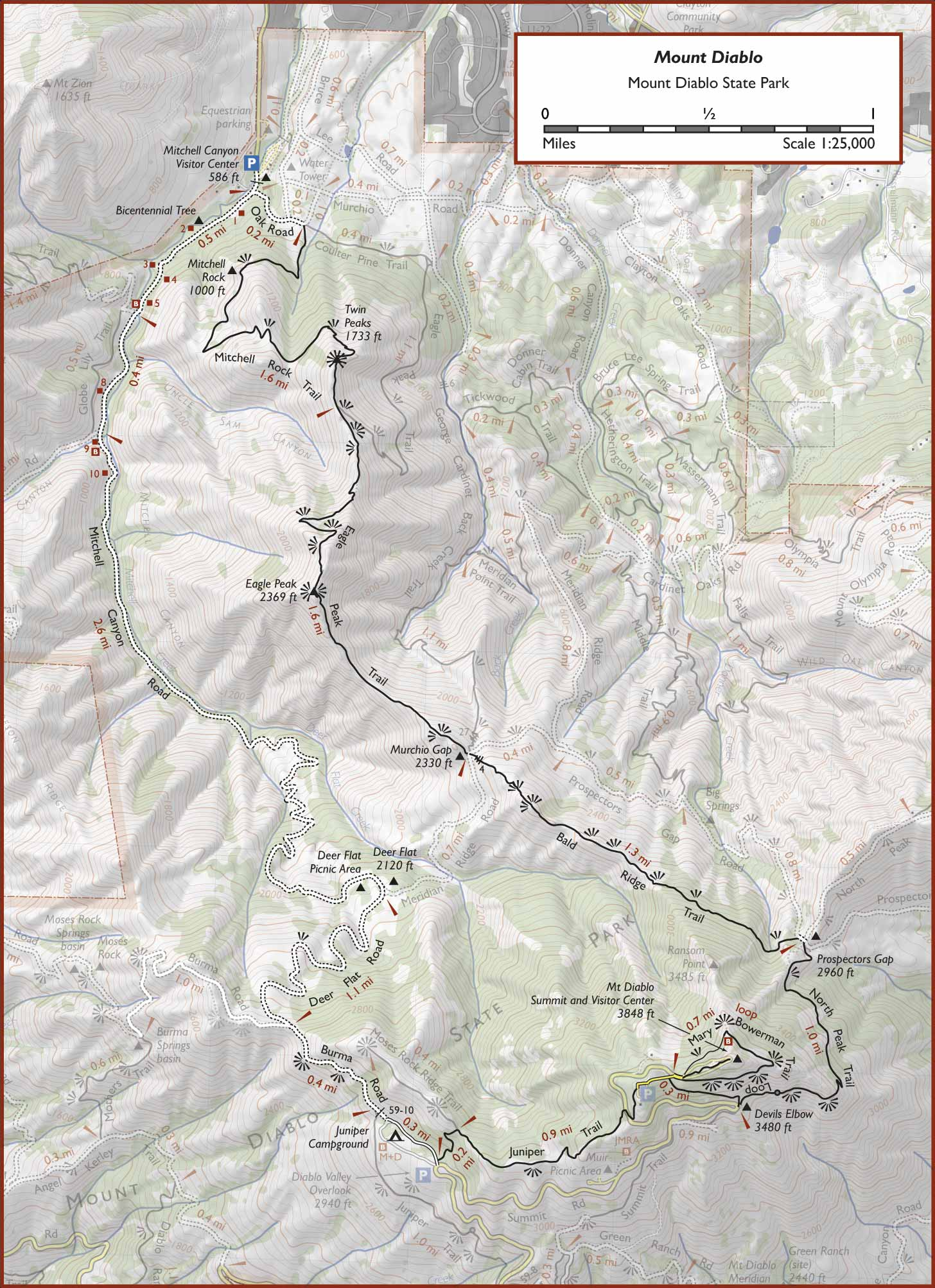 The network of trails ranges from wide fire roads to steep and narrow single track footpaths. Mount Diablo