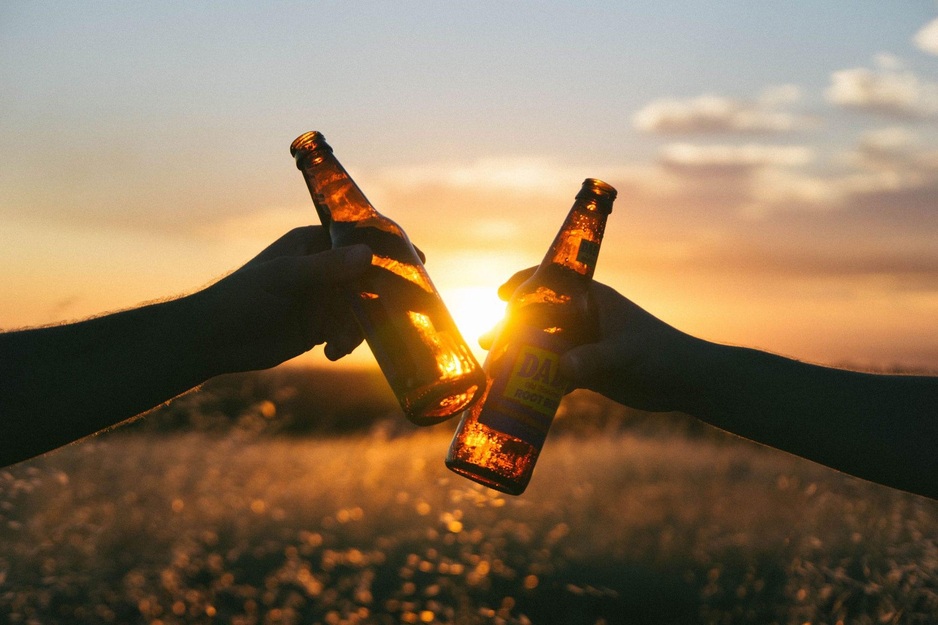 Partners having a beer