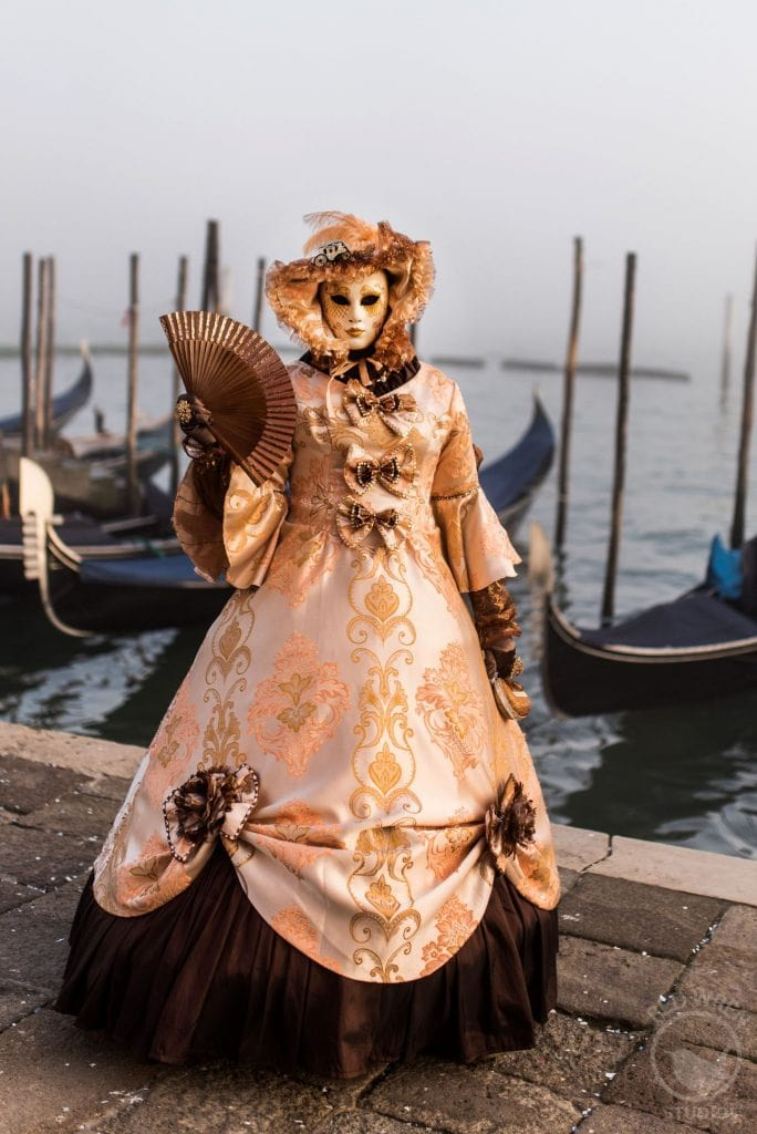 Venice Carnival mask and costume, pink