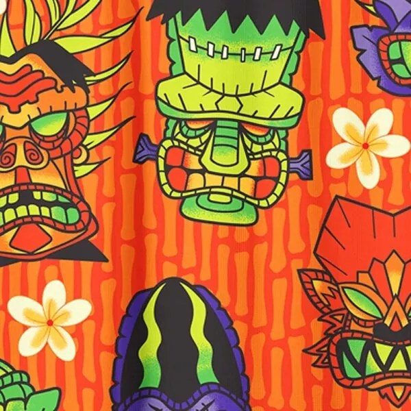 monster tiki shower curtain by sourpuss clothing