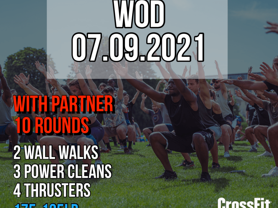 Partner WOD For Time Wall Walk Power Clean Thruster